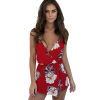 Summer Women  Backless Playsuit Ladies Floral Printed Jumpsuit Beach Shorts