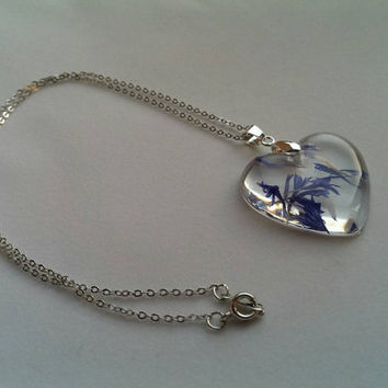 Dried Pressed Flower Necklace (Heart) - resin, silver plated chain, jewellery, jewelry