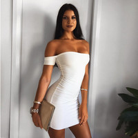 Fashion Off Shoulder Short Sleeve Solid Color Strapless Mini Dress