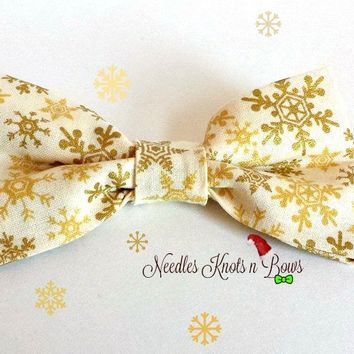 Snowflake Bow Tie, Gold Snowflakes on Cream, Bowties