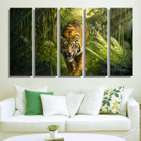 Oil Painting Canvas Tiger in Jungle Wall Art Decoration Painting Home Decor On Canvas Modern Wall Picture For Living Room(5PCS)