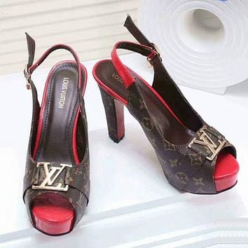 Louis Vuitton Women Leather Heels Sandals Shoes