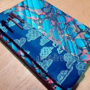 Navy Clouds notebook bandolier, alt pencilcase, stationery strap, book sleeve id3541 gift for crafter astuccio portapenne, drawing tool