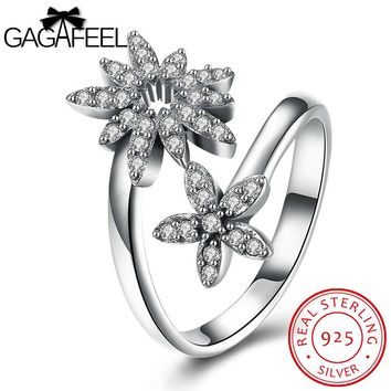 GAGAFEEL Sterling-Silver-Jewelry Rings For Women Wedding Engagement Party Open Finger Flower