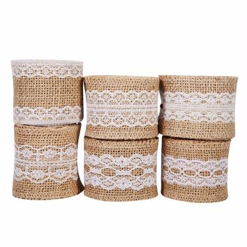 Table Runner Decoration Burlap Ribbon Roll Jute Vintage Craft Gift 6 Types Rustic Style Wedding Decoration
