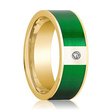 Mens Wedding Band 14K Yellow Gold with Textured Green Inlay and Diamond Flat Polished Design
