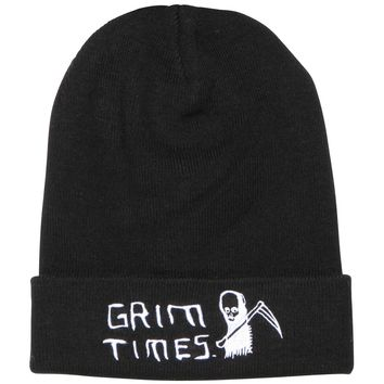 GRIM TIMES BEANIE TEXT - BLACK
