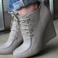 Annamaria - Grey - Wedge lace-up shoe boot from Stylistpick