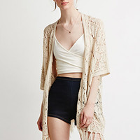 Open-Front Fringed Cardigan