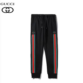 GUCCI Fashion New Stripe Embroidery Letter Women Men Sports Leisure High Quality Pants Black