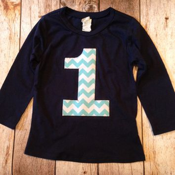 Aqua chevron Birthday shirt Long Sleeve Birthday Shirt Navy with Aqua Biggie Chevron Number or Any Birthday