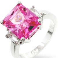Nicki Pink Triplet Engagement Ring | 8ct | Cubic Zirconia