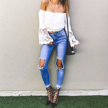 Elodie Off-the-Shoulder Lace Wing Blouse