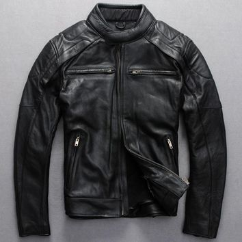 2016 men's slim fit leather motorcycle jacket black real cowskin biker jacket men style leather jackets and coats for man 2xl