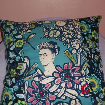 Blue Garden Frida Cactus Flower 24 inch Artistic Statement Pillow Cover