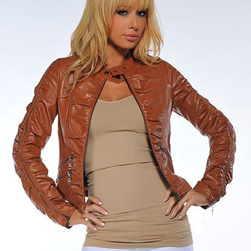 Scrunch Sleeve Faux Leather Zipper | Sexy Clothes Womens Sexy Dresses Sexy Clubwear Sexy Swimwear | Flirt Catalog