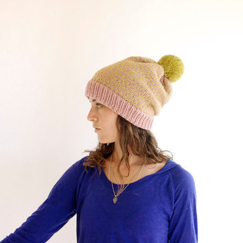 Ski Hat - Womens Knit Beanie - Slouch Hat - Dusty Pink & Chartreuse