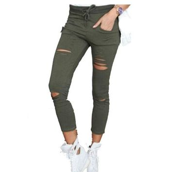DCCKH6B Women leggings Holes Pencil Stretch Casual Denim Skinny Ripped Pants High Waist Jeans Trousers