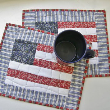 Quilted Mug Rugs - Americana Patriotic 4th of July - Set of 2