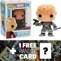 Unmasked Deadpool - Gray X-Force Suit (Preview Exclusive): Funko POP! x Marvel Universe Vinyl Bobble-Head Figure + 1 FREE Official Marvel Trading Card Bundle [32603]