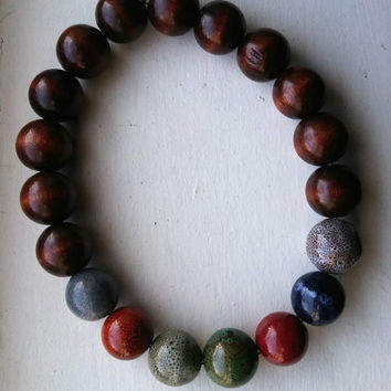 Large Earth Stones and Wood Beaded Necklace