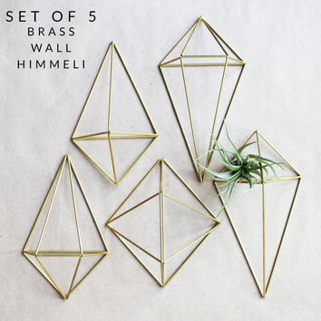 Brass Air Plant Holder Set of 5 | Air Plant Wall Art | Himmeli Wall Planter | Wall Prism