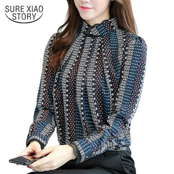2017 New autumn long Sleeves Fashion Casual Chiffon Women Blouses shirt striped Printed office lady blouse tops blusas C924 30