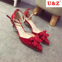 2016 hot summer Sandals ! Glossy RED patent leather handmade bow detailed pointy toe Low heel kitten shoes women (White/Black)