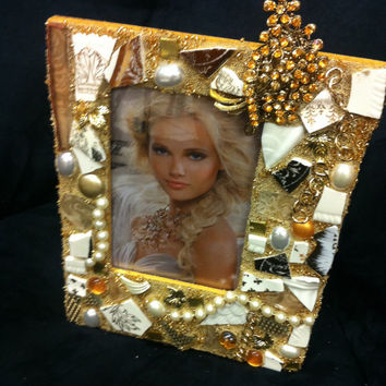 Gold and white wedding theme mixed media mosaic picture frame for 4x6 photo