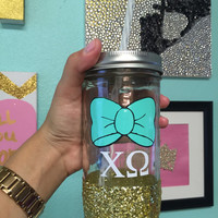 Sorority Bow and Letters Glitter Dipped Mason Jar, Chi Omega, Personalize with any Sorority, Big Little Gifts