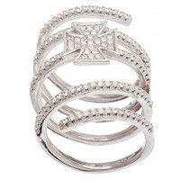 Coil Cross Sterling Silver CZ Ring