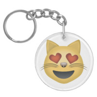 Smiling Cat Face With Heart Shaped Eyes Emoji Keychains