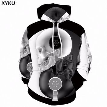 KYKU Yin Yang Hoodie Men Skull Hoodies Black And White 3D Printed Sweatshirt Music Anime Mens Clothing Streetwear Hooded Shirt