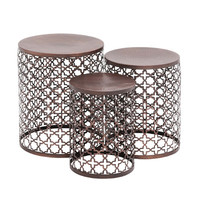 Woodland Imports The Floral 3 Piece End Table Set & Reviews   Wayfair