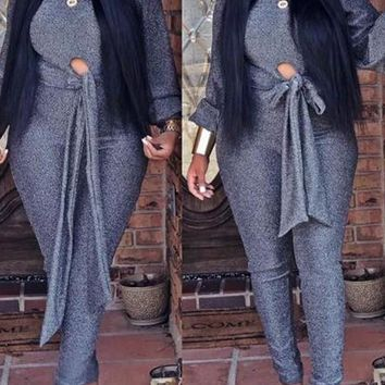 New Grey Bright Wire Sashes Bowknot Sparkly Two Piece Casual Long Jumpsuit