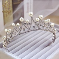Crystal Pearl Tiara Crown Bridal Hair Accessories Wedding Festival Cosplay