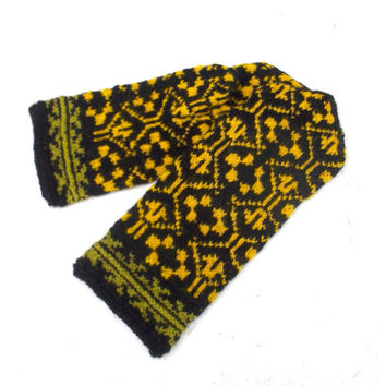 Hand knitted winter wool mittens, latvian mittens, patterned black yellow mitts, colorful nordic gloves, knit adult mittens, accessories