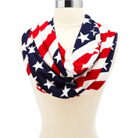 AMERICAN FLAG PRINT INFINITY SCARF