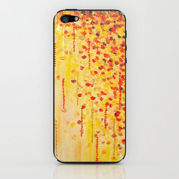 WHEN IT FALLS Bold Autumn Winter Leaves Abstract Acrylic Painting Christmas Red Orange Gold Gift iPhone & iPod Skin by EbiEmporium | Society6