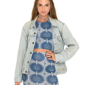 Kimmy Bodycon Skirt in Moon Face Blue by Motel