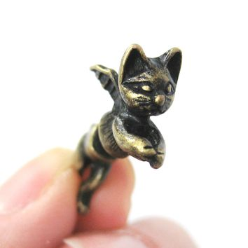 Fake Gauge Earrings: Kitty Cat Burglar Animal Shaped Plug Earrings with Wings in Brass