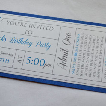 Movie Ticket invite theater theme card Birthday Party boy party invitation blue shimmer movie night birthday party Boy birthday invitations