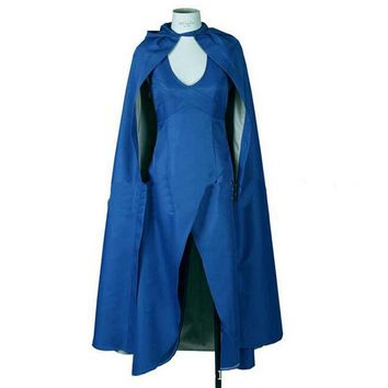 Game of Thrones cosplay Daenerys Targaryen cosplay costume blue dress + cloak Halloween costumes free shipping
