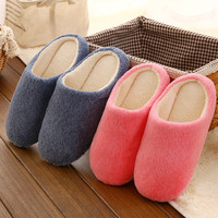 Couple Cotton Winter Quiet Soft Home Slippers [9067740996]
