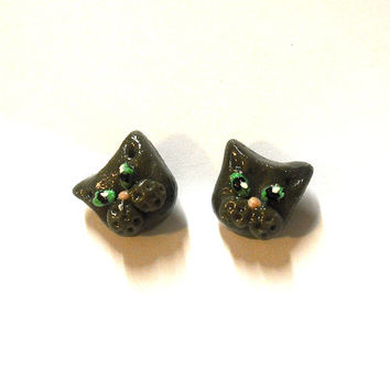 Grey cat earrings cute in porcelain hypoallergenic studs ideal for sensitive ears shaped by hand