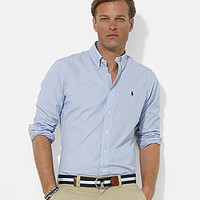 "Polo Ralph Lauren ""Blake"" Custom-Fit Striped Broadcloth Sportshirt - B"