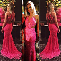 Backless Sleeveless Lace Long Prom Dresses