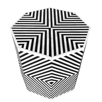 Geometric Bone Inlay Octagonal Side Table