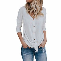 Imily Bela Womens Waffle Knit Tunic Blouse Tie Knot Henley Tops Bat Wing Plain Shirts