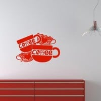 Wall Vinyl Sticker Decal Art Design Coffee Cups for Cafe Kitchen Room Nice Picture Decor Hall Wall Chu486
